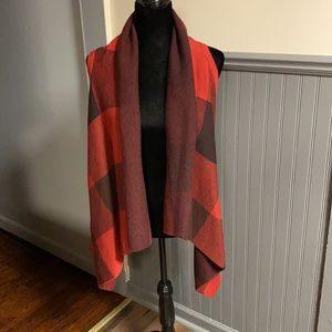Woolrich Red Buffalo Check Open Front Wool Vest